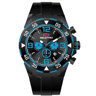 Seapro Men's 'Drive' Black/ Blue Chronograph Watch