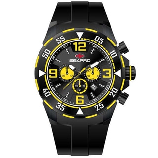 Seapro Men's 'Drive' Black/ Yellow Chronograph Watch