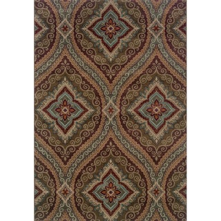 Oriental Green/ Plum Area Rug (1'11 x 3'3)