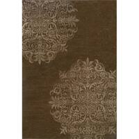 Stamped Medallion Brown/ Stone Area Rug - 5'3 x 7'6