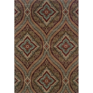 Oriental Green/ Plum Area Rug (6'7 x 9'6)