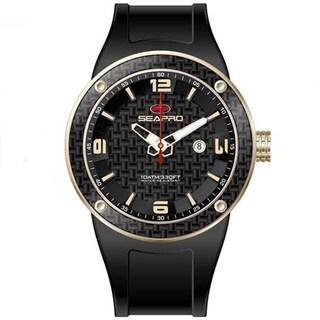 Seapro Men's Black/ Goldtone Diver Watch