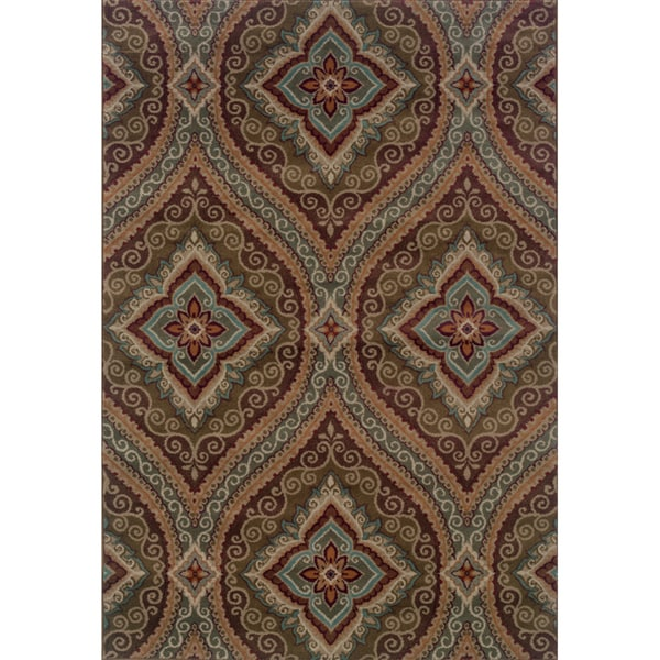 Oriental Green/ Plum Area Rug - 7'10 x 10'10