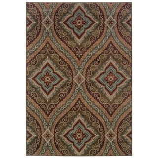 Oriental Green/ Plum Area Rug (9'10 x 12'9)