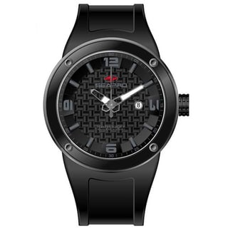 Seapro Men's Black Dial Silicone Strap Diver Watch