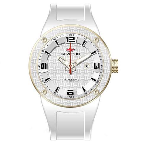 Seapro Men's Goldtone/ White Diver Watch