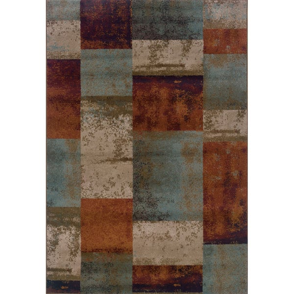Shop Geometric Block Blue Orange Area Rug 5 3 X 7 6 5