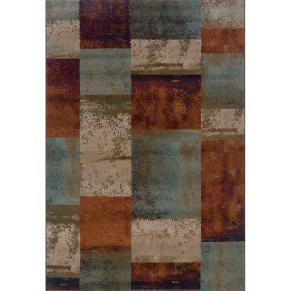 "Geometric Block Blue/ Orange Area Rug (7'10 x 10'10) - 7'10"" x 10'10"""