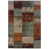 Geometric Block Blue/ Orange Area Rug