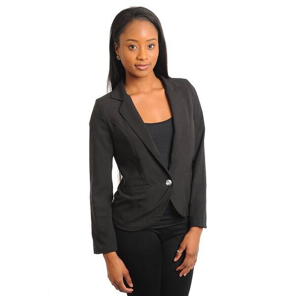 Stanzino Women's Single Button Black Slim Blazer
