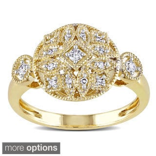 Miadora 14k Gold 1/6ct TDW Pave Diamond Deco Look Ring (G-H, I1-I2)