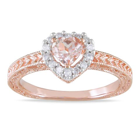 Miadora Silver Morganite and 1/6ct TDW Diamond Ring (H-I, I2-I3)