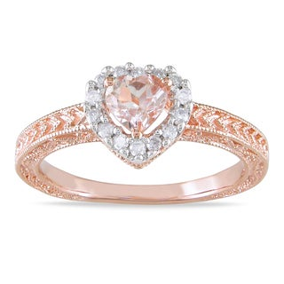 Miadora Silver Morganite and 1/6ct TDW Diamond Ring (H-I, I2-I3)