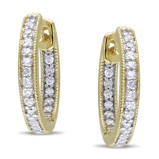 Miadora 14k Yellow Gold 1/4ct TDW Diamond Hoop Earrings