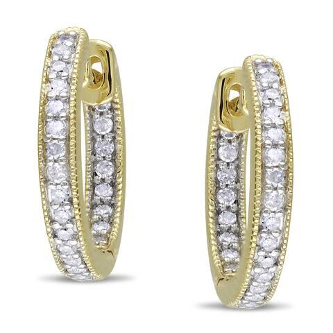 Miadora 14k Yellow Gold 1/4ct TDW Diamond Hoop Earrings