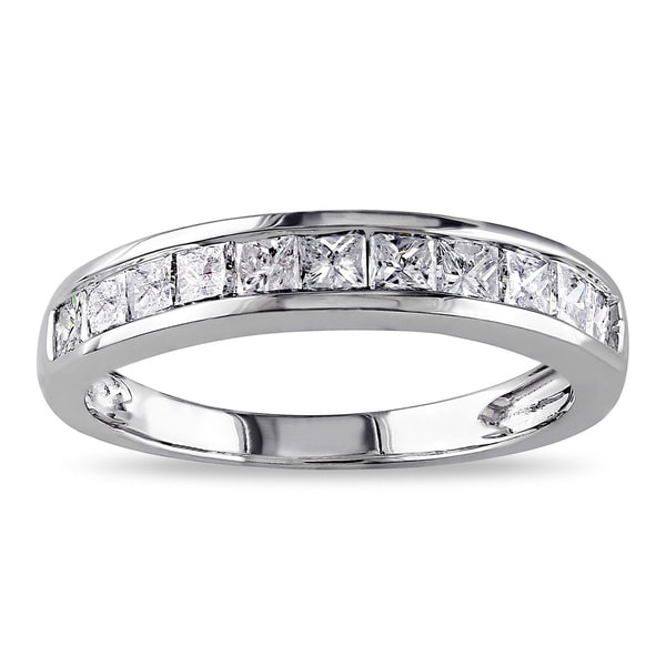 Miadora 14k White Gold 3/4ct TDW Channel-set Princess-cut Diamond Anniversary Band (G-H, I2-I3)