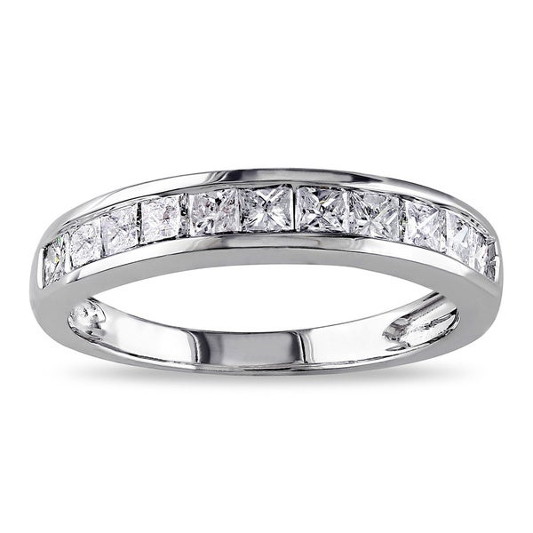 14k White Gold 3/4ct TDW Channel-set Princess-cut Diamond Anniversary Band (G-H, I2-I3)