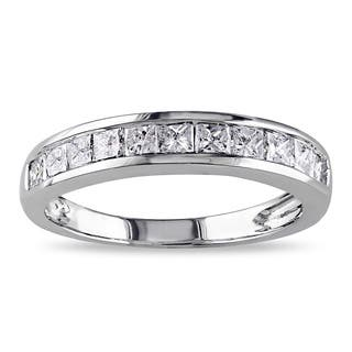 Miadora 14k White Gold 3/4ct TDW Channel-set Princess-cut Diamond Anniversary Band (G-H, I2-I3)|https://ak1.ostkcdn.com/images/products/8075970/P15430574.jpg?impolicy=medium