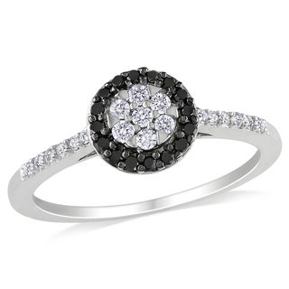 Miadora 10k White Gold 1/4ct TDW Black and White Floral Halo Diamond Ring