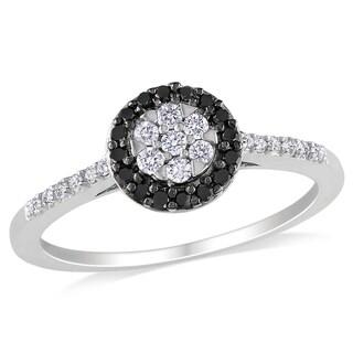 Miadora 10k White Gold 1/4ct TDW Black and White Floral Halo Diamond Ring