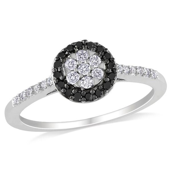 Miadora 10k White Gold 1/4ct TDW Black and White Halo Diamond Ring (H-I, I2-I3)