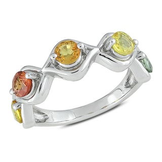 Miadora Sterling Silver Multi-colored Sapphire Ring