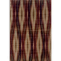 """Abstract Grey/ Red Area Rug (5'3 x 7'6) - 5'3"""" x 7'6"""""""