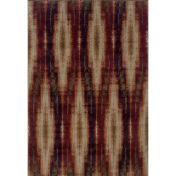 "Abstract Grey/ Red Area Rug (5'3 x 7'6) - 5'3"" x 7'6"""