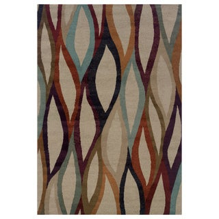 Abstract Grey/ Multi Area Rug (3'10 x 5'5)