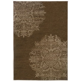 Stamped Medallion Brown/ Stone Area Rug (3'10 x 5'5)