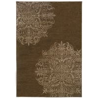 Stamped Medallion Brown/ Stone Area Rug - 3'10 x 5'5