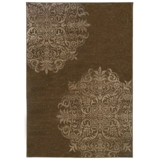 Stamped Medallion Brown/ Stone Area Rug (1'11 x 3'3)
