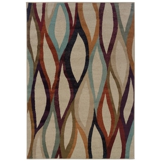 "Abstract Waves Grey/ Multi Area Rug - 5'3"" x 7'6"""
