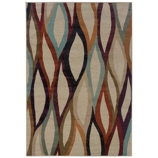 Abstract Grey/ Multi Modern Area Rug (5'3 x 7'6)