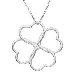 Gioelli Sterling Silver 4-leaf Clover Heart Necklace