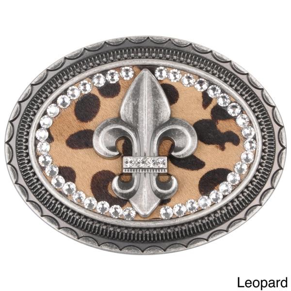 BT Oval Fleur-di-lis Animal Print Belt Buckle
