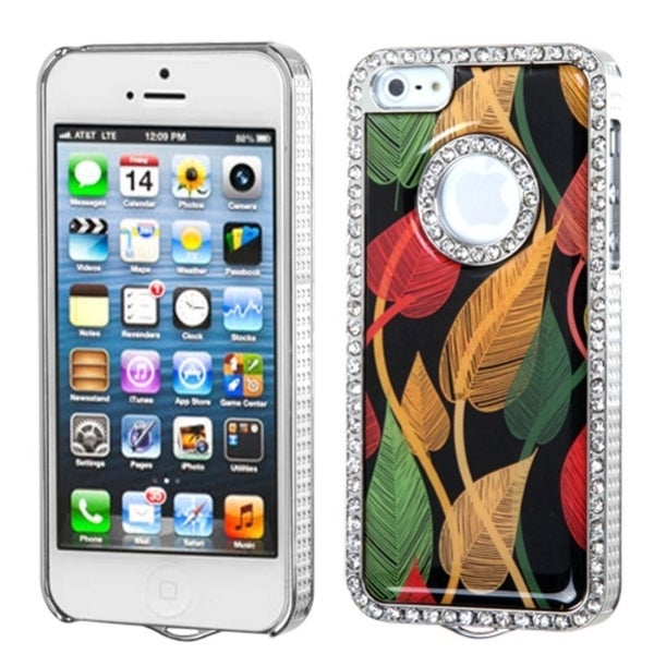 INSTEN Silver Dancing Leaves Elite Diamond Phone Case Cover for Apple iPhone 5