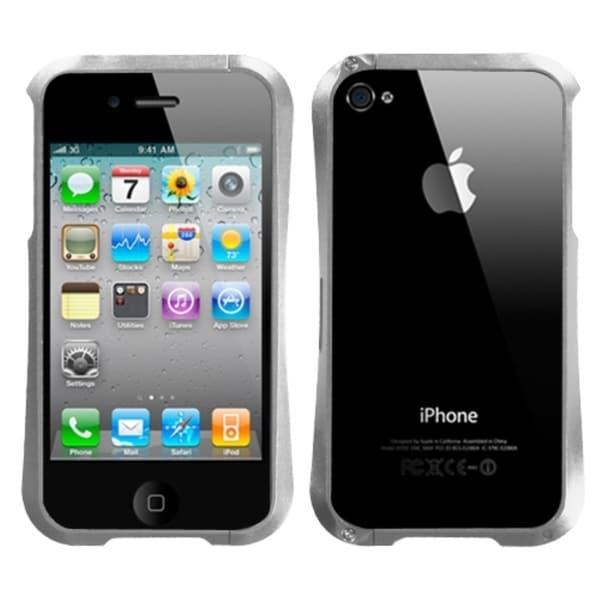 INSTEN Metallic Silver Nitro Surround Phone Case Cover for Apple iPhone 4S/ 4