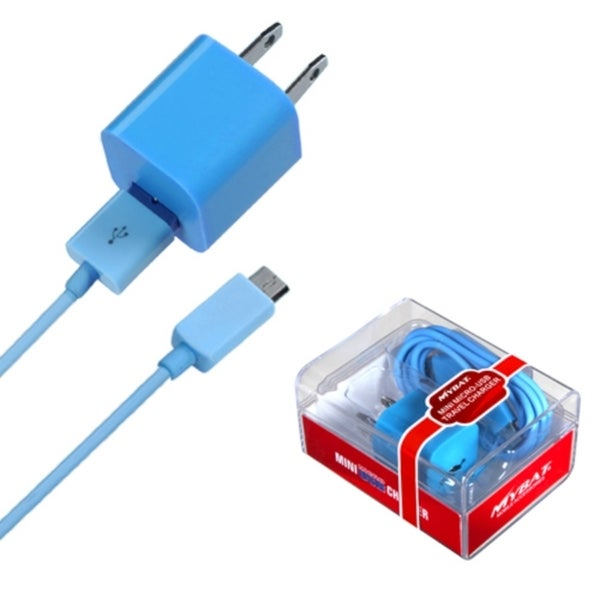 BasAcc Baby Blue 2-in-1 Micro USB Travel Charger with USB Port