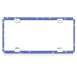 INSTEN Blue Crystals Metal License Plate Frame