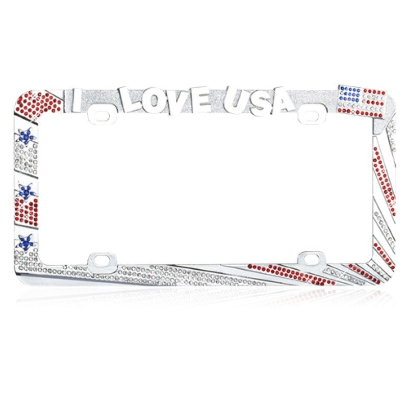 Insten I Love USA with Red/ White Crystals License Plate ...