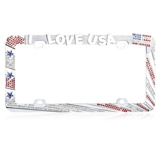 INSTEN I LOVE USA with Red/ White Crystals License Plate Frame