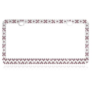 INSTEN Chrome Metal Checkers with Pink Crystals License Plate Frame
