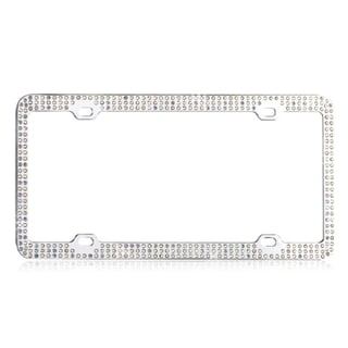INSTEN Multicolor Triple Row Crystals License Plate Frame