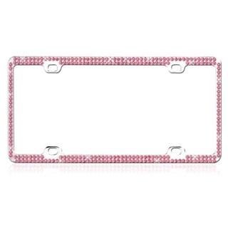INSTEN Pink Crystals Metal License Plate Frame