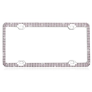 INSTEN Purple Triple Row Crystals License Plate Frame