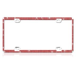 INSTEN Red Crystals Metal License Plate Frame