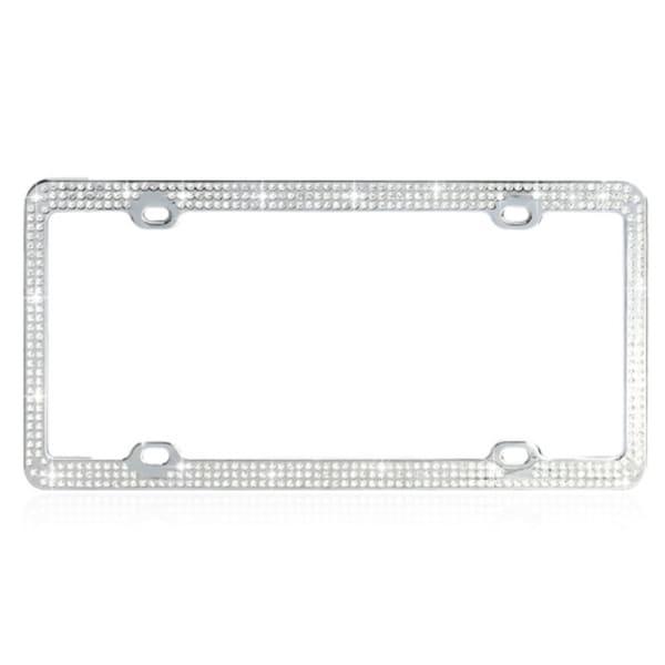 Shop INSTEN White Crystals License Plate Frame - On Sale - Free ...