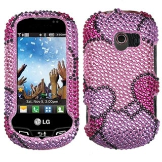 INSTEN Cloudy Hearts Diamante Phone Case Cover for LG VN271 Extravert