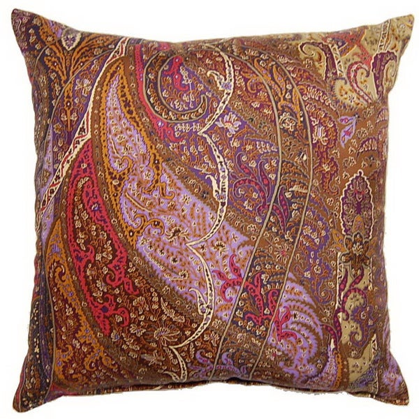 Shop Paisley Silk Purple 19 Inch Throw Pillows Set Of 2